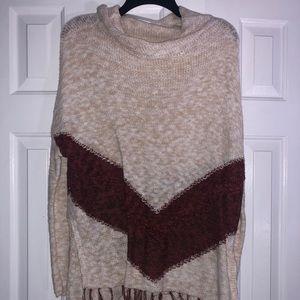 NWT Mossimo Cream Fringe Turtleneck Sweater